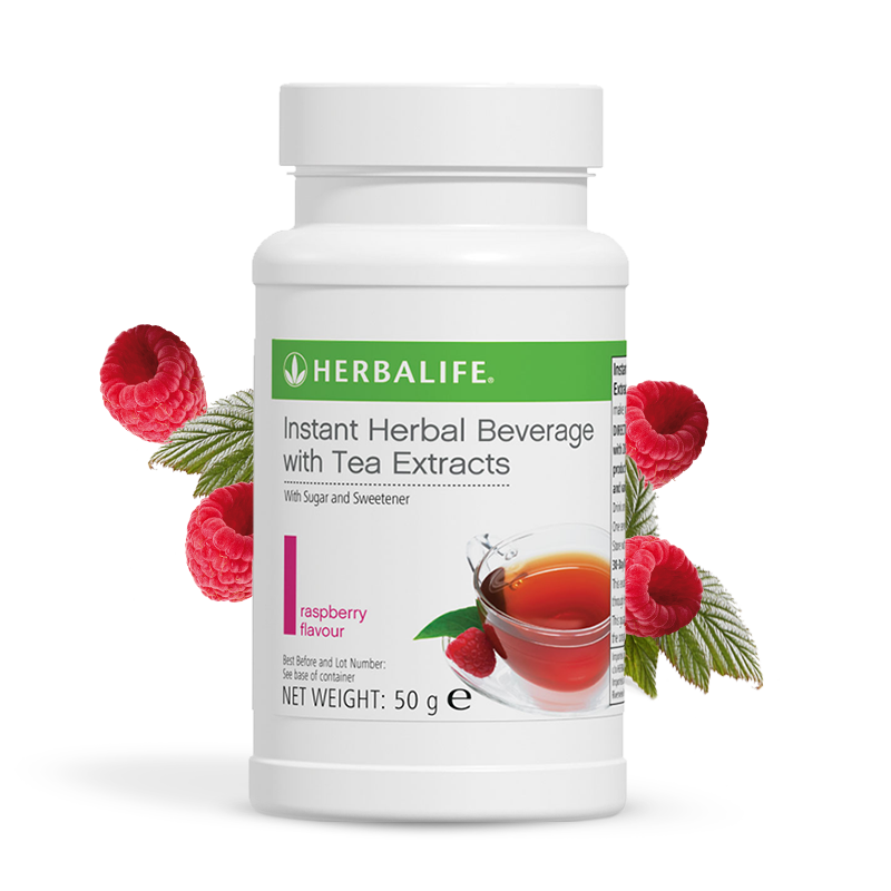 Bottle of Herbalife raspberry flavour tea