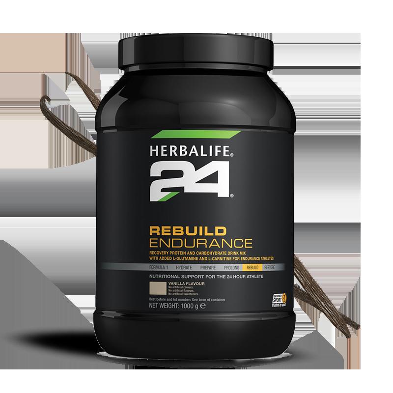 Tub of vanilla flavour Herbalife 24 rebuild endurance