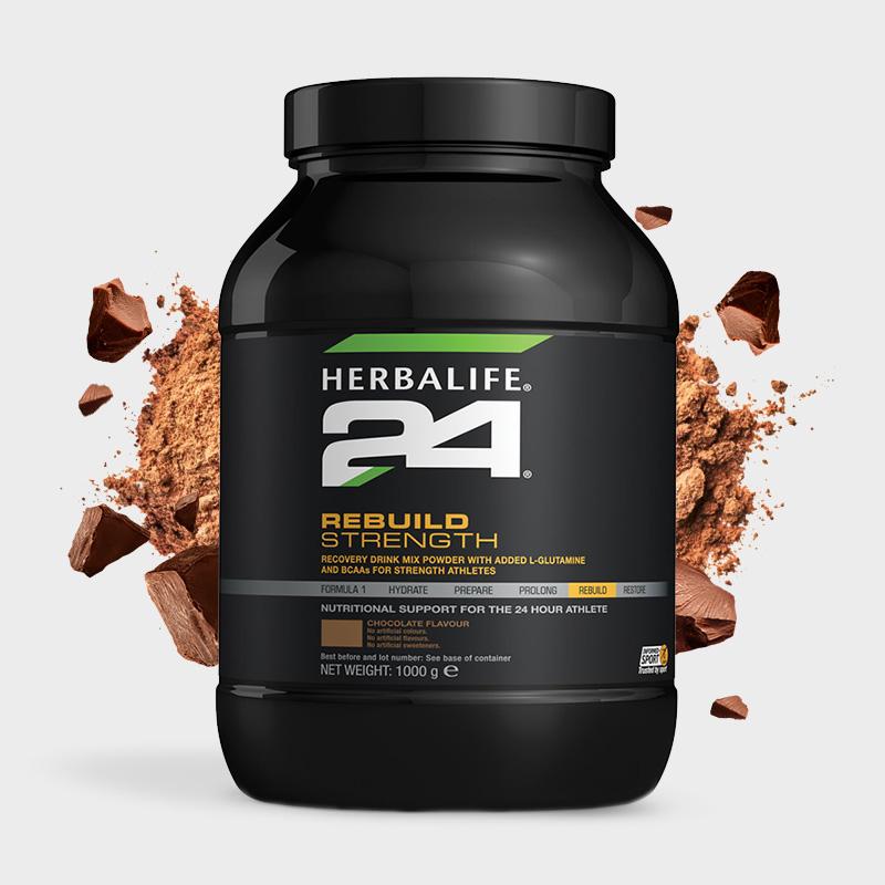 Large tub of chocolate flavour Herbalife 24 rebuild strength