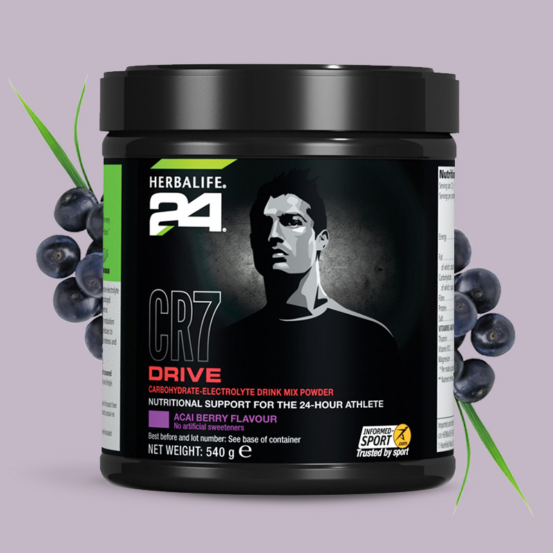 Tub of Herbalife 24 CR7 Drive acai berry flavour
