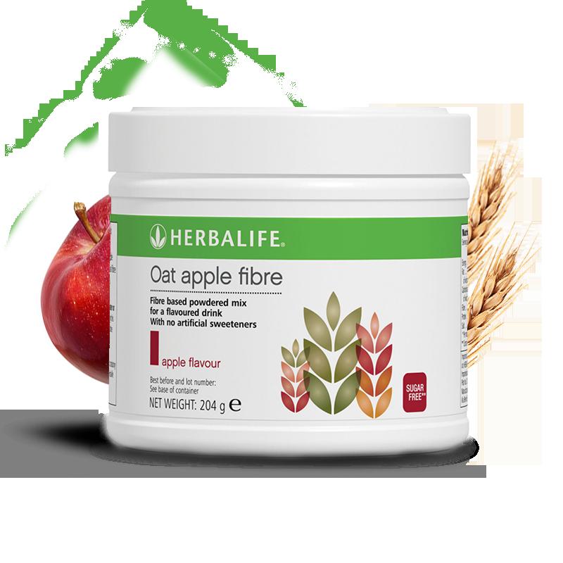 Tub of Apple flavour Herbalife oat apple fibre drink