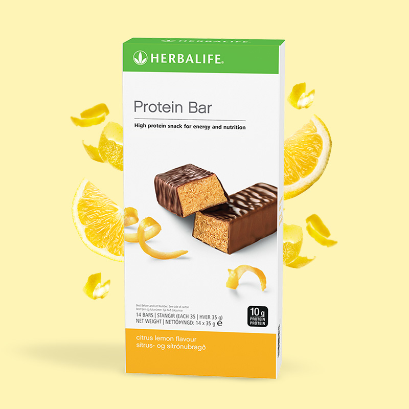 Product image of Herbalife citrus lemon flavour protein bars box