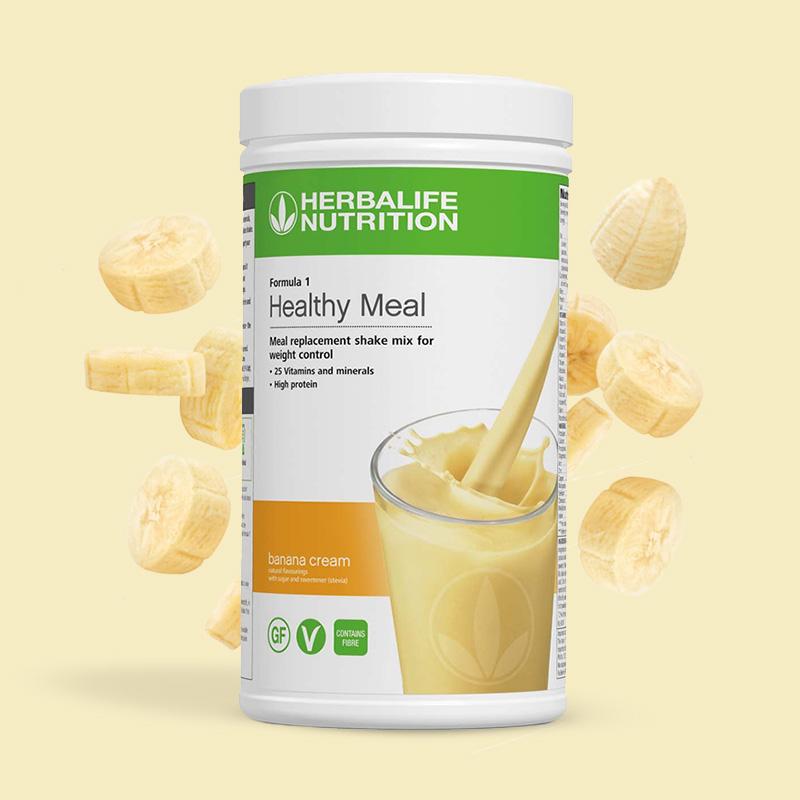 Canister of Herbalife formula 1 banana cream flavour shake