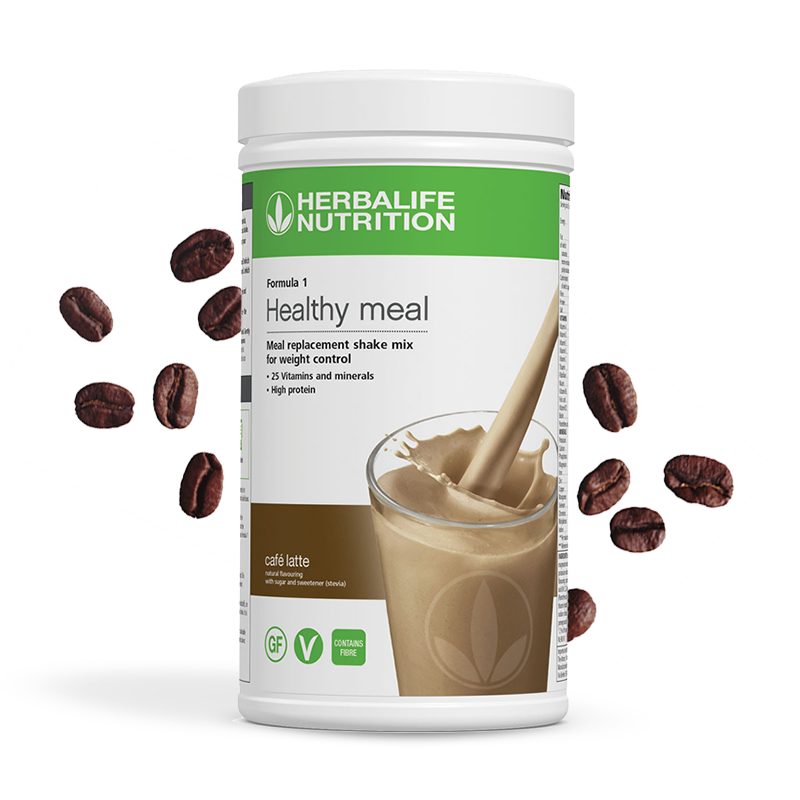 Canister of Herbalife formula 1 cafe latte flavour shake