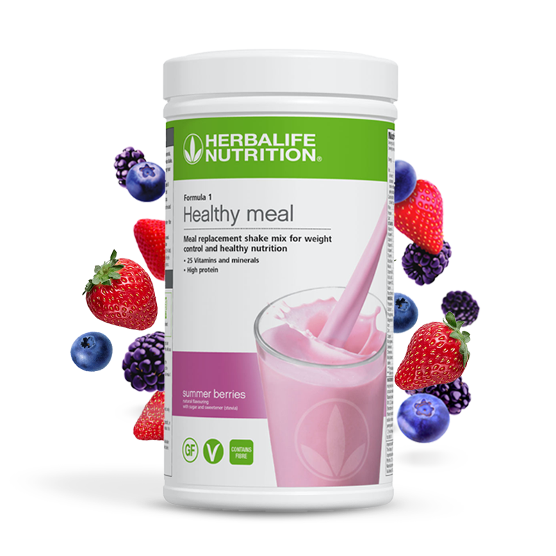Tub of Herbalife Formula 1 summer berries meal replacement shake
