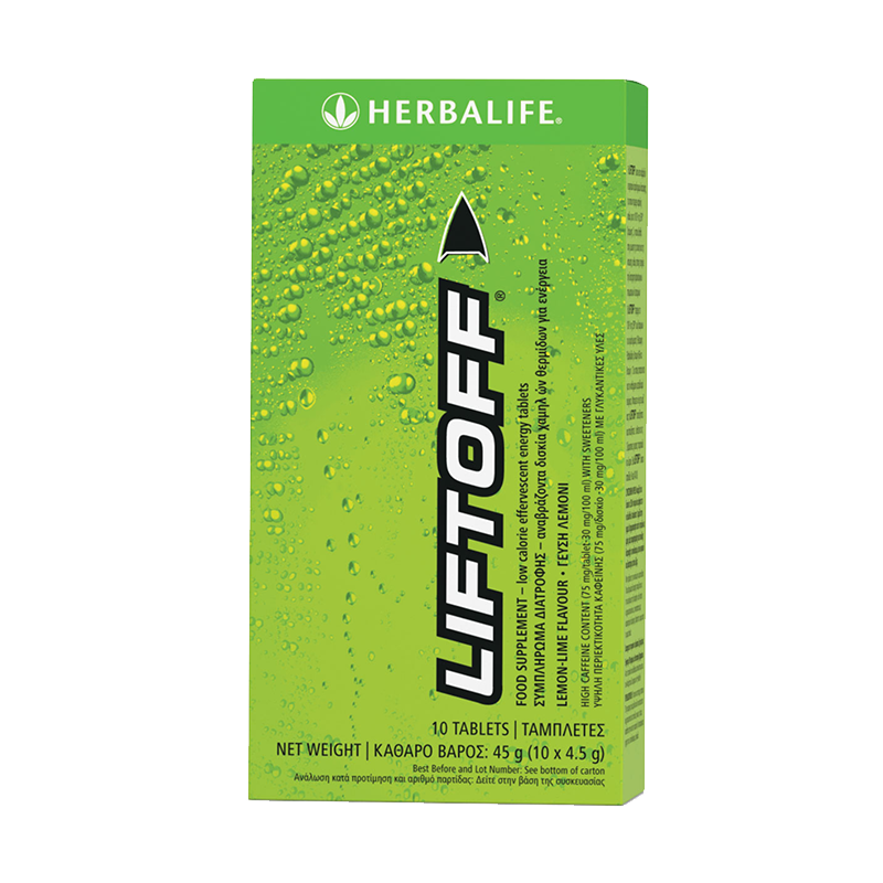Box of Herbalife Liftoff energy tablets