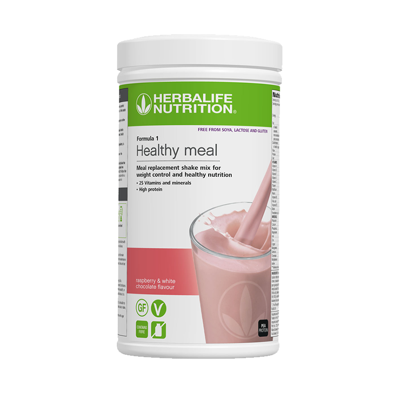 Tub of Herbalife Free From Formula 1 raspberry and white chocolate meal replacement shake