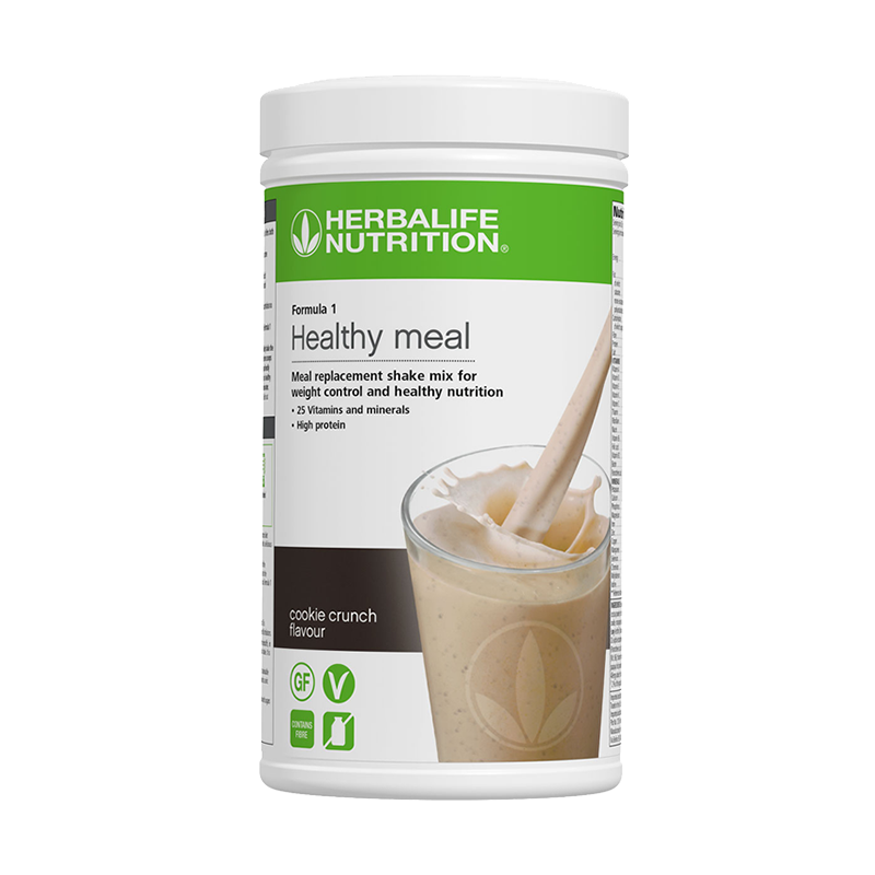 Container of Herbalife Formula 1 cookie crunch flavour shake