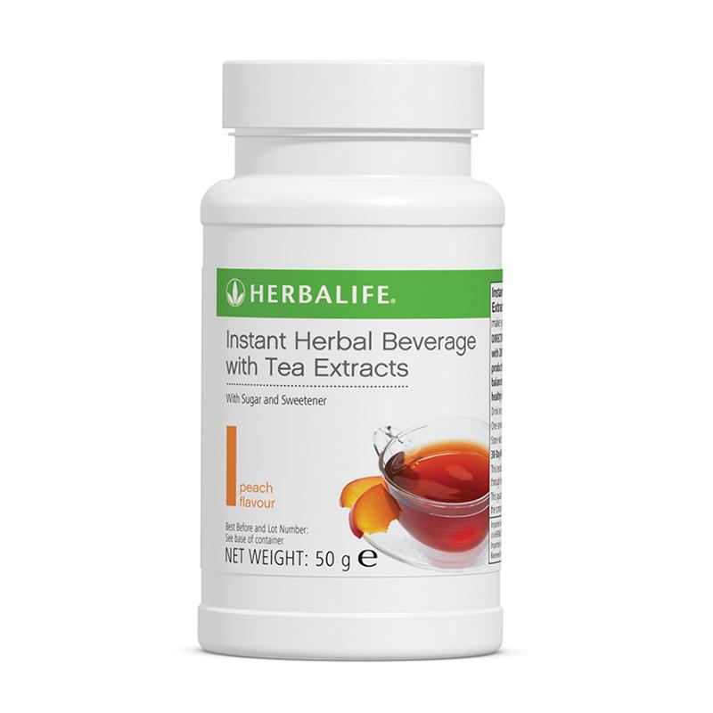 Peach flavour Herbalife herbal tea bottle