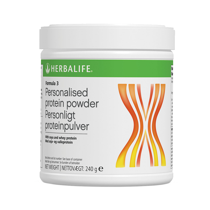 Canister of Herbalife Formula 3 personalised protein powder