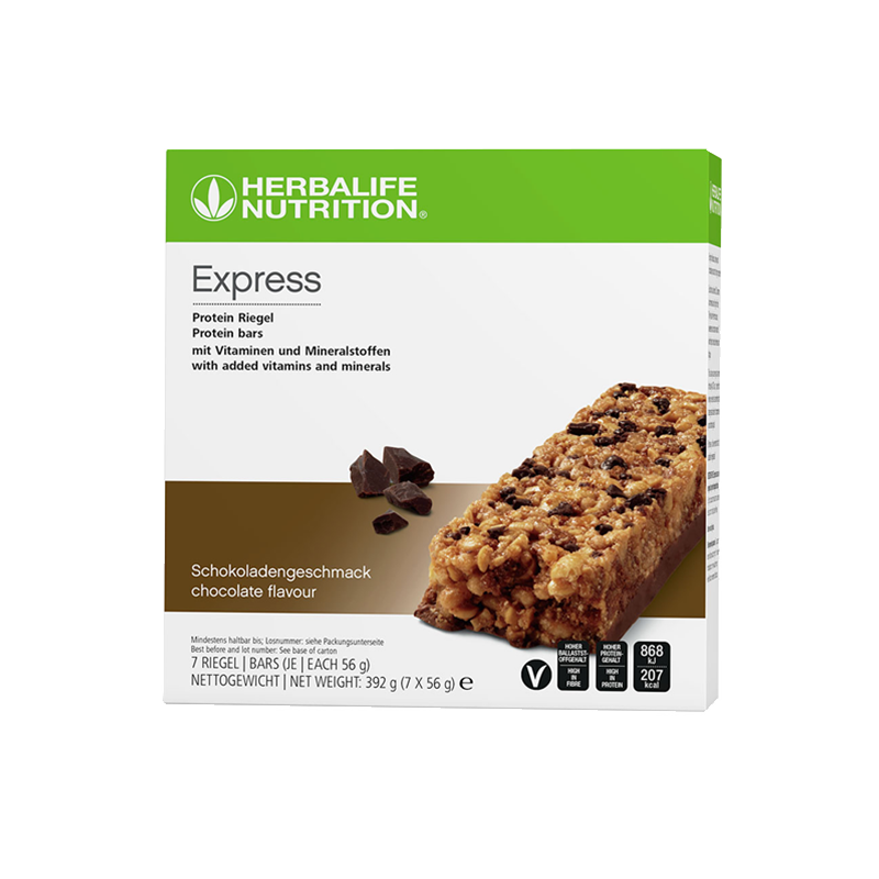 Box of Herbalife chocolate flavour express protein bars