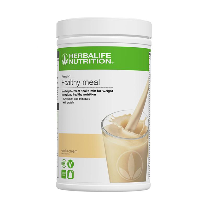 Canister of Herbalife formula 1 vanilla cream flavour shake