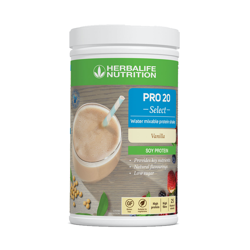 Tub of Herbalife Pro 20 water mixable protein shake