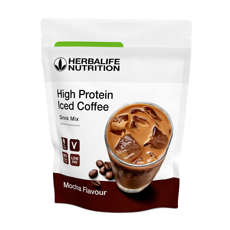 Package of Herbalife High Protein iced coffee mocha flavour